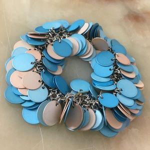Aqua rose gold disc 2 strand stretch bracelet